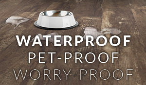 Waterproof, Pet-proof, Worry-proof luxury vinyl flooring on sale this month as Abbey Carpet & Floor at Patricia's in Cape Coral.